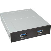 """Baie 3,5 """"avec panneau avant InLine® PC avec connecteur interne à 19 broches de 2 ports USB 3.0"""