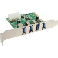 Contrôleur hôte 4 ports InLine® USB 3.0 PCIe incl. Support bas profil et alimentation SATA