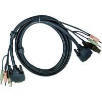 Jeu de câbles KVM Aten 2L-7D02UI, DVI (lien simple) + USB + audio, 1,8 m
