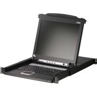 """Commutateur KVM, 16 ports, ATEN CL1016M-ATA, console LCD coulissante 43,18cm (17 """") avec clavier DE éclairé par LED, pour armoir"""