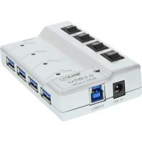 Hub 4 ports InLine® USB 3.0 avec commutateur silver + Alimentation 3,5 A