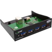 """Hub de panneau avant USB 3.0 InLine® à 4 ports pour lecteur de disquettes 3,5 """"noir"""