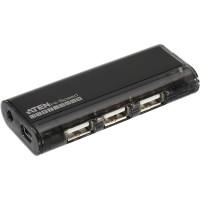 Mini USB 2.0 4-Port concentrateur, noir, avec solénoïde, sans bloc d'alimentation, Aten UH284Q9Z