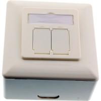 Boîtier de prise murale InLine® Cat. 6A en saillie ou encastré 2x RJ45 femelle RAL9010 blanc vertical