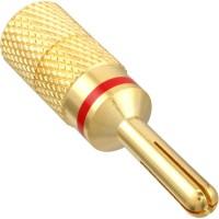 Fiche banane InLine® plaquée or, couleur rouge, codage 4 mm