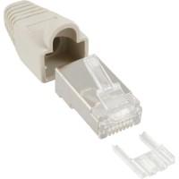 Connecteur à sertir InLine® RJ45 8P8C blindé avec filetage + protection anti-pliage gris 100 pcs.