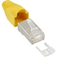 Connecteur à sertir InLine® RJ45 8P8C blindé avec filetage + protection anti-pliage jaune 10 pcs.