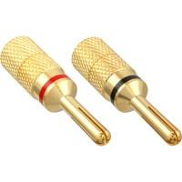 InLine® Bana Plug Version à vis en métal plaqué or 1x rouge 1x noir