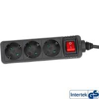 Barrette d'alimentation InLine® noire à 3 ports, 3x, type F, allemand avec commutateur de 5 m