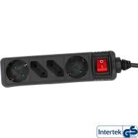 Barrette d'alimentation InLine® 4 ports 2x Type F allemand + 2x Euro avec interrupteur noir 1,5m