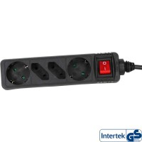 Barrette d'alimentation InLine® 4 ports 2x Type F allemand + 2x Euro avec interrupteur noir 3m