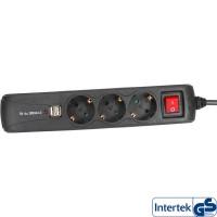 Barrette d'alimentation InLine® 3 ports + 2xUSB 3x Type F allemand + 2x USB2 + commutateur noir 1.5m