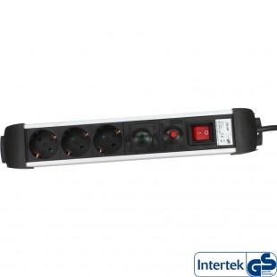 Power Strip InLine® 3 ports avec protection 3x Type F allemand avec interrupteur argenté 1.5m