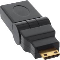 Adaptateur InLine® HDMI HDMI A femelle à HDMI C type balançoire plaquée or