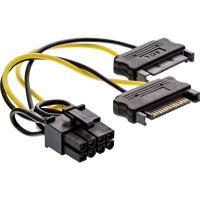 Câble adaptateur d'alimentation InLine®, 2x prise SATA à fiche PCI-Express 8 broches, 0,15 m