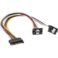 Câble électrique en Y SATA, InLine®, SATA fem. à 2x SATA mâle plié, 0,3m