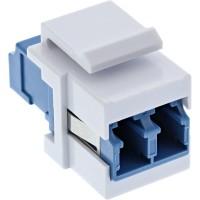 InLine® Adaptateur de composant logiciel enfichable Keystone à fibre optique blanc, duplex LC / LC, SM, manchon en céramique, bl