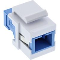 Adaptateur de composant logiciel enfichable Keystone à fibre optique InLine®, blanc, simplex SC / SC, SM, bleu, manchon en céram