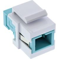 Adaptateur de composant logiciel enfichable Keystone à fibre optique InLine®, blanc, simplex SC / SC, MM, aqua, manchon en céram