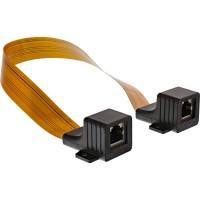 Câble InLine® Slim RJ45 pour fenêtres / portes, 2x RJ45 F / F, 1: 1, non blindé, 0,3 m