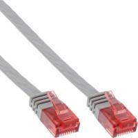 Câble de raccordement ultra-plat plat InLine® U / UTP Cat.6 Gigabit ready grey 1m