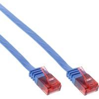 Câble de raccordement ultra-plat plat InLine® U / UTP Cat.6 Gigabit ready blue 1m
