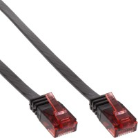 Câble de raccordement ultra-plat plat InLine® U / UTP Cat.6 Gigabit ready black 0.5m