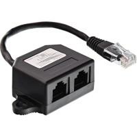 Distributeur ISDN, InLine®, 2x RJ45 Bu, 15cm Câble, avec résistances de pull-up