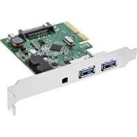 Contrôleur hôte InLine® USB 3.1, 2 ports A femelle + interne à 19 broches, avec commutateur, PCIe