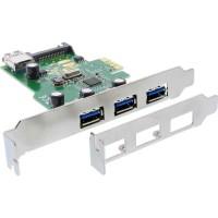 Contrôleur hôte USB 3.0 InLine® 3 + 1 ports PCIe avec alimentation SATA et support LP