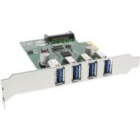 Contrôleur hôte 4 ports InLine® USB 3.0 PCIe incl. Support à profil bas et Aux 4 broches. Puissance