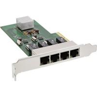 Carte réseau InLine® Quad Gigabit, PCIe x4, 4x 1 Go / s, avec support bas
