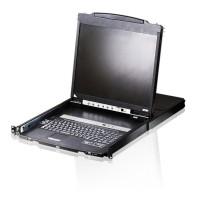 """Commutateur KVMP, ATEN CL5816N-ATA, console LCD 19 """"à 16 ports, USB et PS / 2, pour racks 19"""", avec port pour périphériques USB"""