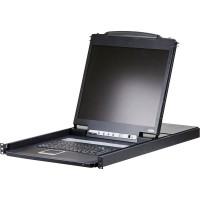 """ATEN CL1308N Commutateur KVMP, 8 ports, Console LCD 19 """", USB, PS / 2, VGA, Clavier (allemand) avec rétroéclairage par LED"""