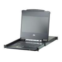 """Commutateur KVM, ATEN CL6708MW, 8 ports, Console LCD FullHD 17,3 """", DVI + USB, Rail unique 19"""""""