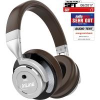 Casque d'écoute Bluetooth Over Ear InLine® PURE I avec suppression active du bruit (ANC) brun-argent