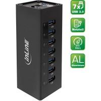Boîtier en aluminium à 7 ports pour hub InLine® USB 3.0 avec alimentation 2,5 A noir