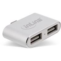Mini hub USB 2.0 InLine®, AF USB Type-C M à 2x USB, argent