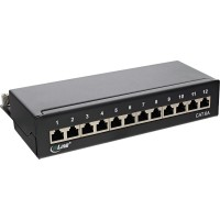 Panneau de raccordement InLine®, ensemble table / mur Cat.6A, 12 ports, noir RAL9005