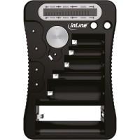 Testeur de batterie InLine® avec écran LCD, pour piles rondes et piles boutons