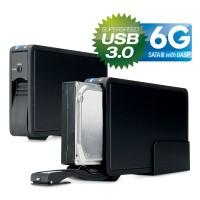 Boîtier de disque dur, USB 3.0, FANTEC ER-35U3-6G, SATA, avec ventilateur, noir