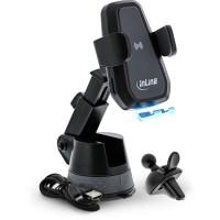 Porte-téléphone pour voiture InLine®, électrique, avec ventouse et support pour fente d'aération, chargeur universel, extensible