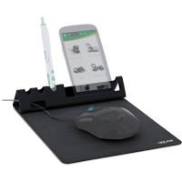 Tapis de souris multifonction InLine® avec smartphone et porte-stylo, noir, pliable