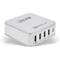 Adaptateur secteur USB InLine® Quick Charge 3.0, chargeur, 4x USB A + USB Typ-C, 40 W, blanc