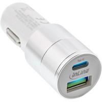 Adaptateur secteur de chargeur de voiture USB InLine® Charge rapide 3.0, 12 / 24VDC - 5V CC / 3A, USB-A + USB Type-C, blanc
