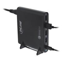 Bloc d'alimentation pour ordinateur portable InLine® Quick Charge 3.0 USB, 4x USB A + USB Type-C, 80W, noir
