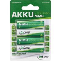 Pile rechargeable InLine® NiMH, Mignon (AA), 2350mAh, préchargée, prête à l'emploi, par 4 pack