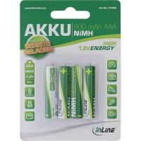 Pile rechargeable NiMH InLine®, Micro (AAA), 900 mAh, prête à l'emploi, préchargée, par 4 pack
