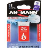 Ansmann 10 ans batterie au lithium 9V E-Block pour détecteur de fuméelonglife (5021023-01), longlife