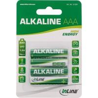 Batterie alcaline haute énergie InLine®, Micro (AAA), blister de 4 pièces